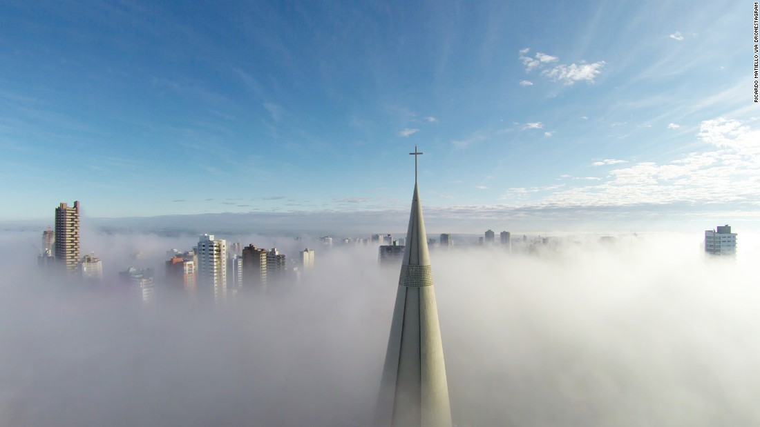 "Ricardo Matiello's photo ""Above the mist,"" taken in Maringa, Brazil, was the most-liked photo in this year's <a href=""http://www.dronestagr.am/contest/"" target=""_blank"">Drone Aerial Photography Contest</a>. More than 5,000 entries were submitted from around the world, in categories ranging from Places to Dronies (drone selfies). <a href=""http://www.dronestagr.am/catedral-basilica-menor-nossa-senhora-da-gloria/"" target=""_blank"">""Above the mist""</a> was also first place in the Places category."