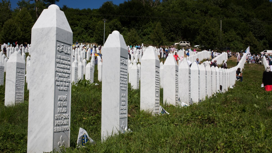 A row of headstones, some of more than 6,000 in the Srebrenica cemetery.