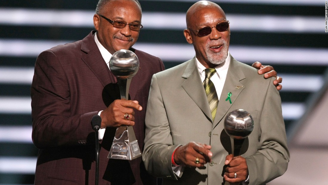 "U.S. runners <strong>Tommie Smith</strong>, left, and <strong>John Carlos</strong> received the Arthur Ashe Courage Award<a href=""http://sports.espn.go.com/espn/news/story?id=3417048"" target=""_blank""> in 2008</a>. The two<a href=""http://www.cnn.com/2012/04/24/sport/olympics-norman-black-power/""> gave the Black Power salute</a> while receiving their medals in the 1968 Olympics. The two used their spotlight after they won gold and silver in the men's 200 meter sprint to draw attention to the fight for racial equality and human rights."