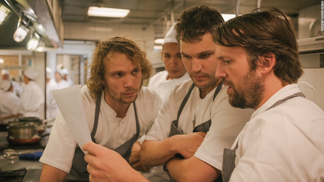 The Grand Gelinaz! Shuffle on July 9 saw 37 of the world's best chefs swapping kitchens for a few days to produce a unique menu inspired by the restaurant they were sent to for one dinner service only. Joined by his sous chefs Thomas Frebel (left) and Beau Clugston (center), René Redzepi of Noma left his Copenhagen kitchen to takeover Bangkok's Nahm.