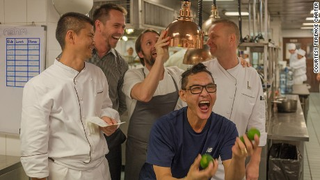 Senior members of the Nahm and Noma teams play up to the camera for a video to announce which mystery chef was in the Bangkok kitchen. It was meant to be a secret that it was Redzepi, however, rumours had already spread around town.