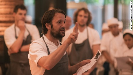 Chef René Redzepi gives a pep talk to the team about the philosophy behind the Gelinaz! project as many of the Nahm staff were unaware of just how many of the world's best chefs had swapped restaurants on this day.