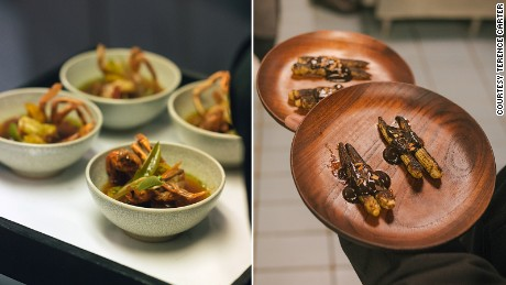 "Among the 15 courses served were ""soft shell crab with aubergine"" (left) and ""corn with nahm pla raa."""