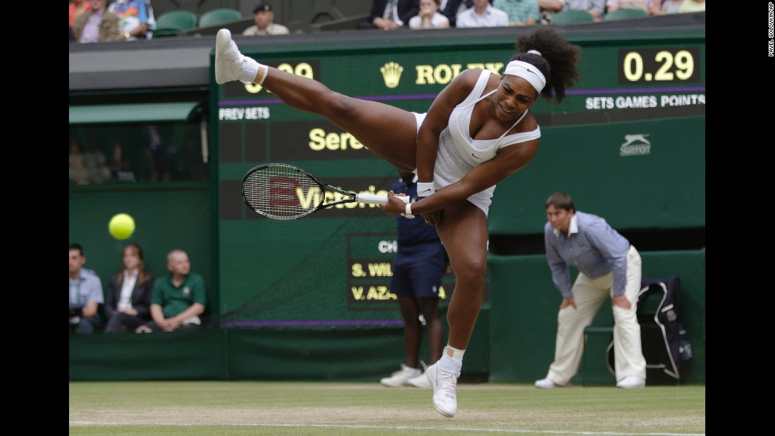 "Serena Williams returns a ball to Victoria Azarenka during their Wimbledon quarterfinal on Tuesday, July 7. Williams <a href=""http://www.cnn.com/2015/07/11/tennis/serena-williams-muguruza-wimbledon-tennis/"">went on to win the tournament</a> -- her fourth Grand Slam title in a row and the 21st of her illustrious career."