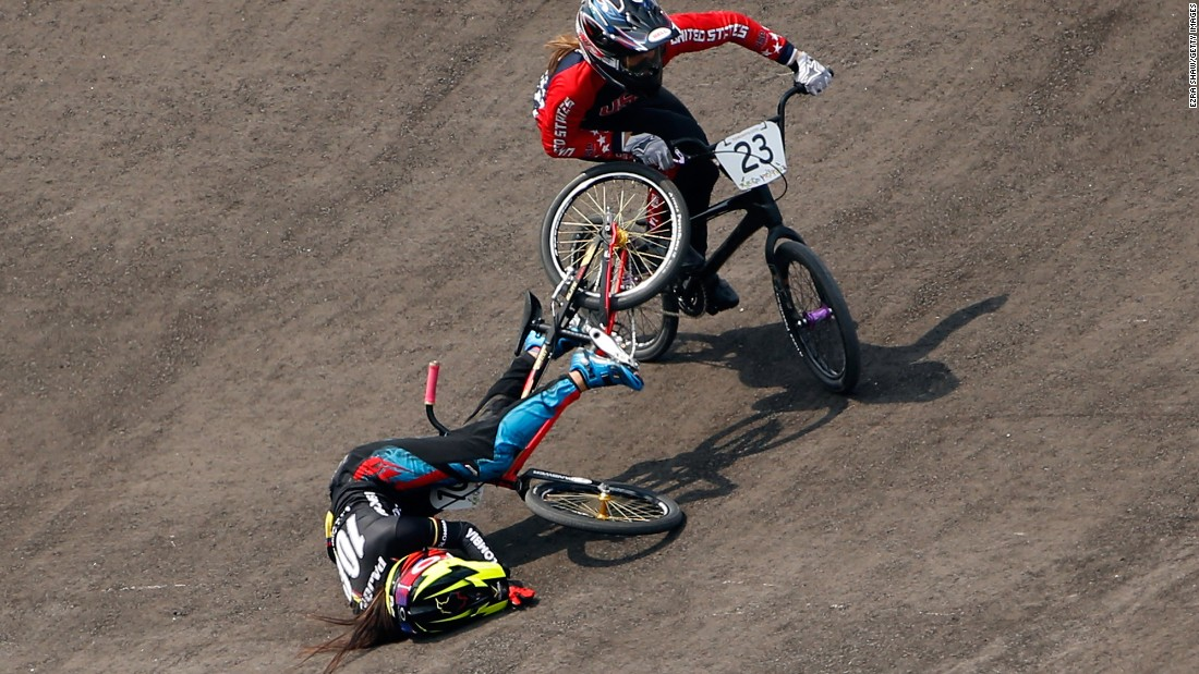 Felicia Stancil of the United States goes around Colombia's Mariana Pajon Londono on her way to winning the women's BMX final at the Pan American Games on Saturday, July 11. Londono, the 2012 Olympic champion, fell on a turn but finished the race.