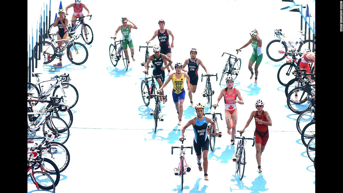 Triathletes at the Pan American Games begin the cycling portion of their race on Saturday, July 11.