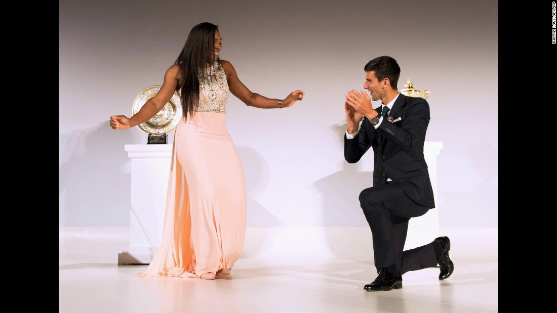 "Serena Williams and Novak Djokovic <a href=""https://www.youtube.com/watch?v=7uRpNJ6M0As"" target=""_blank"">dance to the Bee Gees</a> at the Wimbledon champions dinner on Sunday, July 12. Williams won the tournament for the sixth time in her career. Djokovic has now won three Wimbledon titles."