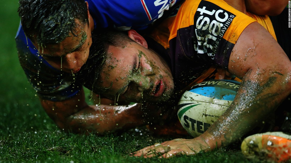 Sam Perrett of the Canterbury Bulldogs tackles Daniel Vidot of the Brisbane Broncos during a National Rugby League match in Sydney on Saturday, July 11.