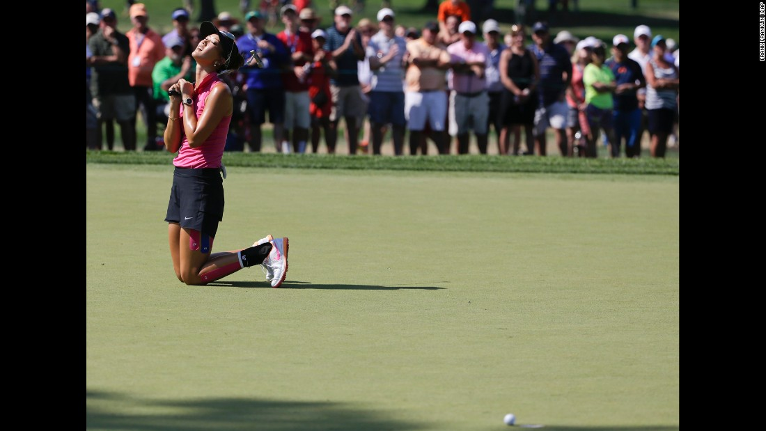 Michelle Wie reacts to a missed putt Saturday, July 11, at the U.S. Women's Open in Lancaster, Pennsylvania.