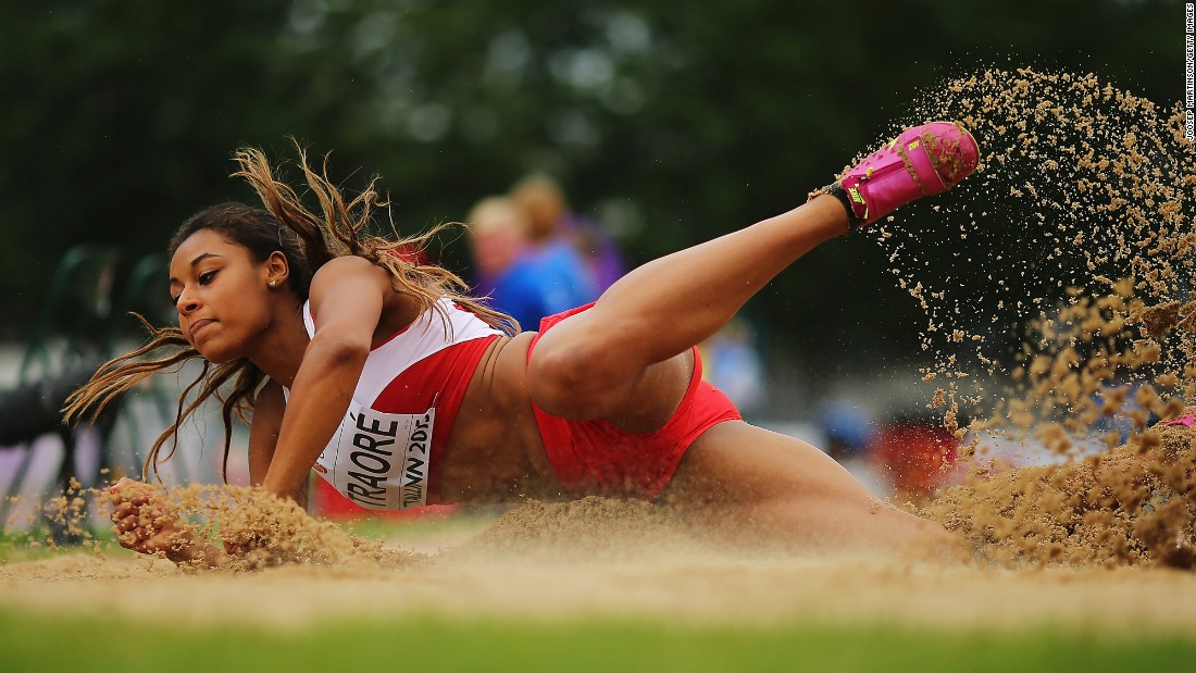 Danish long jumper Martha Traore lands in the sand pit Thursday, July 9, while competing at the European Under-23 Championships.