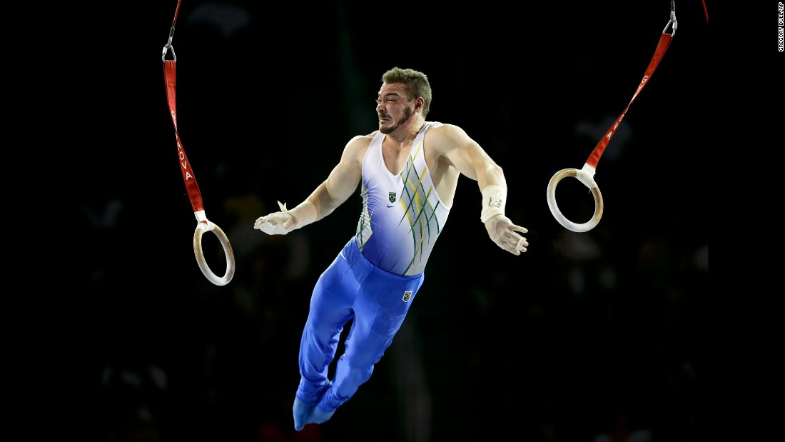Brazil's Arthur Zanetti competes on the rings during the Pan American Games on Saturday, July 11. Brazil won silver in the team event.