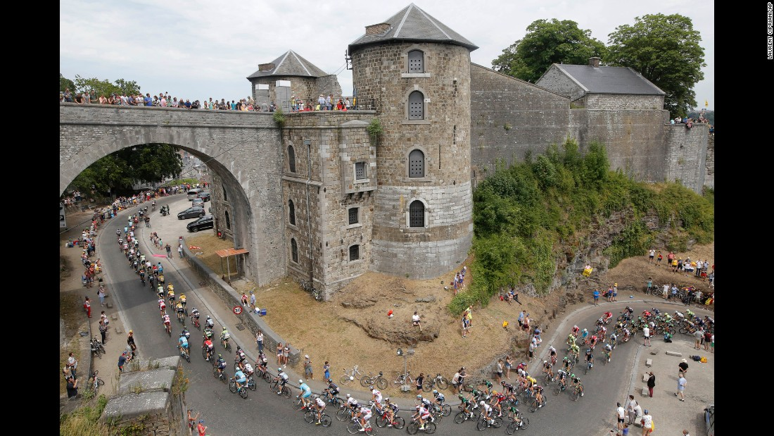 Cyclists climb toward the Namur Citadel in Namur, Belgium, during the fourth stage of the Tour de France on Tuesday, July 7.