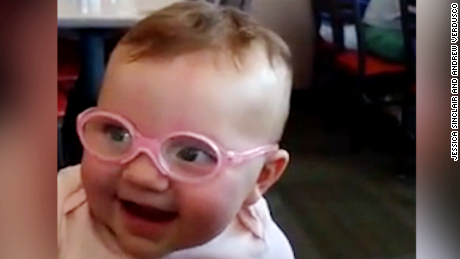 Eyeglass Frames For Babies : Babys adorable reaction to glasses - CNN Video