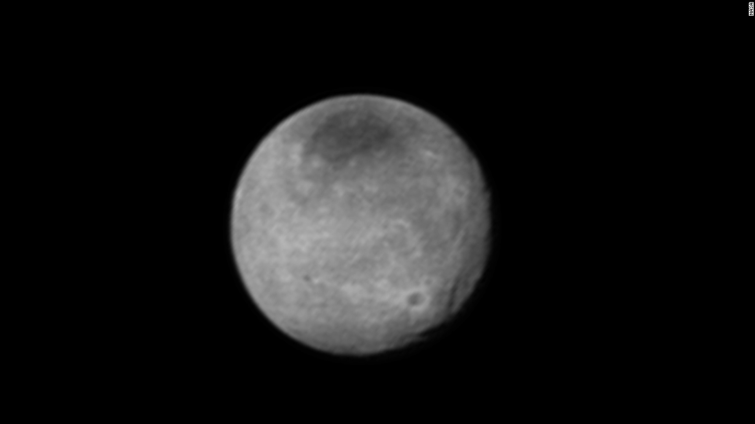 New Horizons snapped this photo of Charon on July 12. It reveals a system of chasms larger than the Grand Canyon. The spacecraft was 1.6 million miles away when the image was taken.