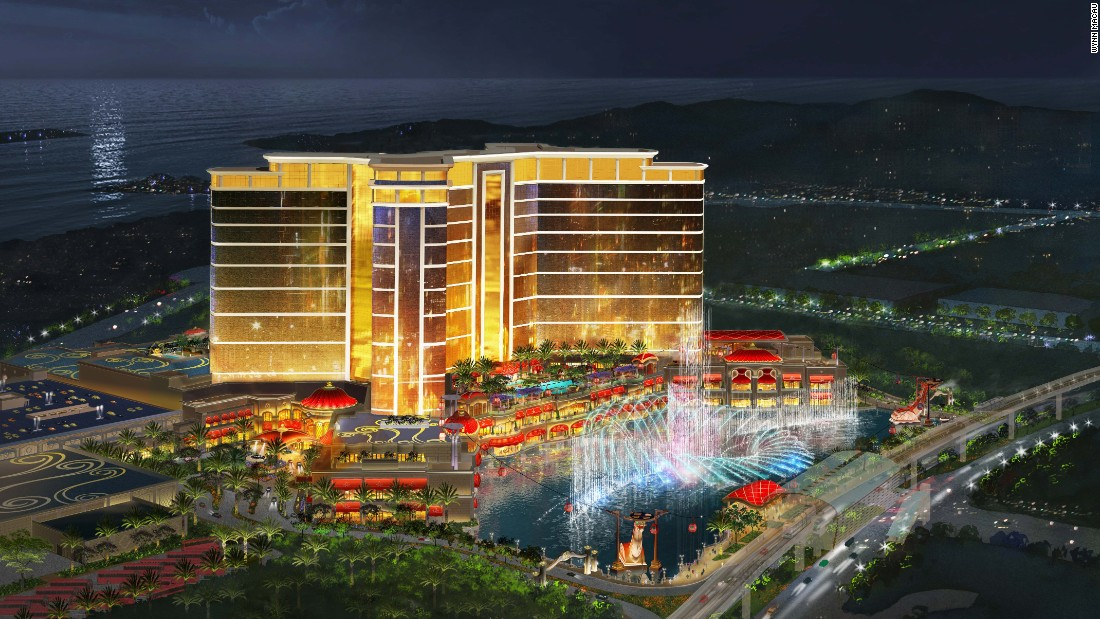 Guests at Wynn Palace can ride air-conditioned gondolas over an artificial lake to the front door of the 1,700-room hotel opening in the first half of 2016.
