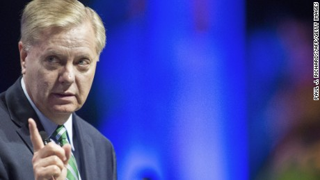 US Senator and Republican presidential hopeful Lindsey Graham delivers remarks at the 10th Annual Christians United For Israel Summit July 13, 2015, at the Washington Convention Center, in Washington, D.C.