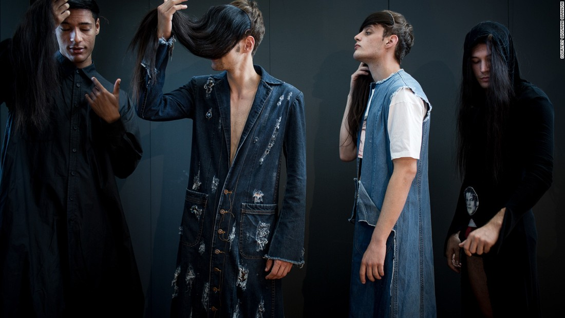 Somewhat more familiar were the looks by Attila Lajos, which featured denim treated in different ways.