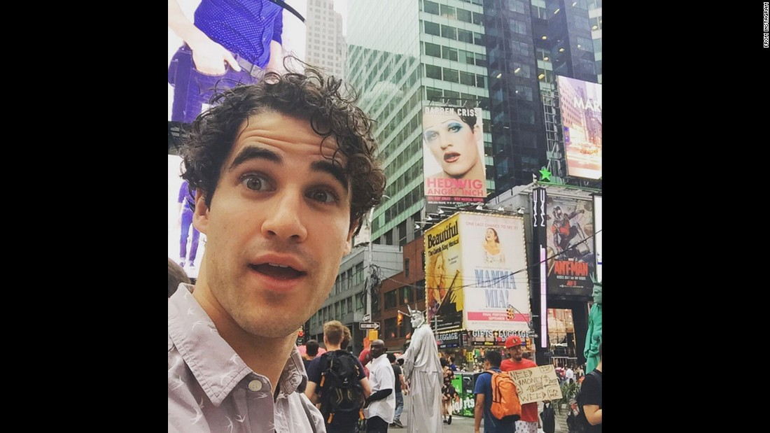 """Photobombin' myself,"" said actor Darren Criss, who's starring on Broadway's ""Hedwig and the Angry Inch."" He <a href=""https://instagram.com/p/47SZp5D1LY/"" target=""_blank"">posted the selfie to Instagram</a> on Thursday, July 9."