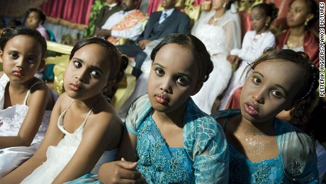 Young girls at a wedding in the Crown Hotel in Hargeisa.