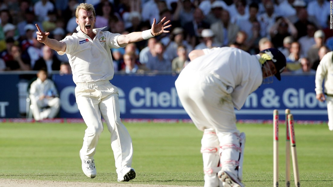Brett Lee is one of the most fearsome fast bowlers in Test cricket history. The Australian's deliveries regularly clocked upwards of 95 mph, with his fastest ever being 100.1 mph. Here he bowls the middle stump of England's Andrew Flintoff during the Fourth Ashes Test at Trent Bridge, Nottingham in 2005.