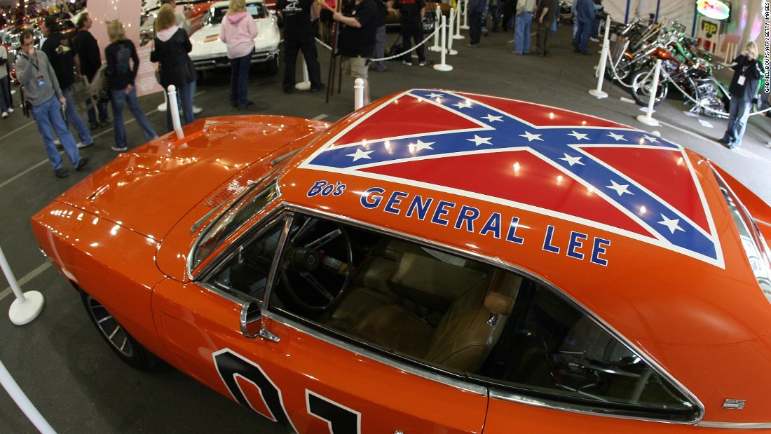 "The General Lee, the 1969 Dodge Charger from the TV show ""The Dukes of Hazzard,"" featured a flag on its roof. Warner Bros. said it would no longer license models of the car with the flag. One of the show's stars, <a href=""http://www.hollywoodreporter.com/news/john-schneider-confederate-flag-dukes-804933"" target=""_blank"">John Schneider, told The Hollywood Reporter</a> that he was unhappy with the decision. Though acknowledging others may see it as a symbol of racism, he said, ""If the flag was a symbol of racism, then Bo and Luke and Daisy and Uncle Jesse were a pack of wild racists and that could not be further from the truth."""