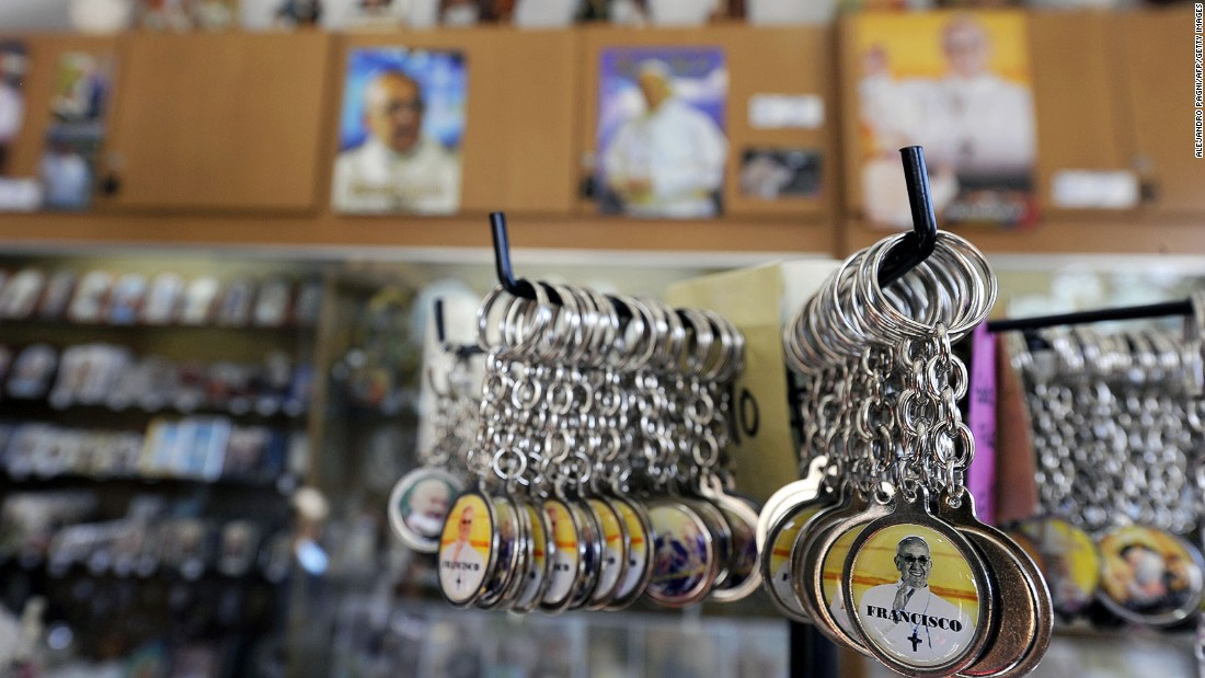 View of Pope-related objects for sale at the San Jose del Talar parish church, which is part of the tour.