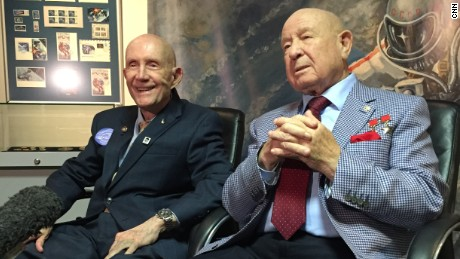 Former astronaut Thomas Stafford (left) and former cosmonaut Alexey Leonov