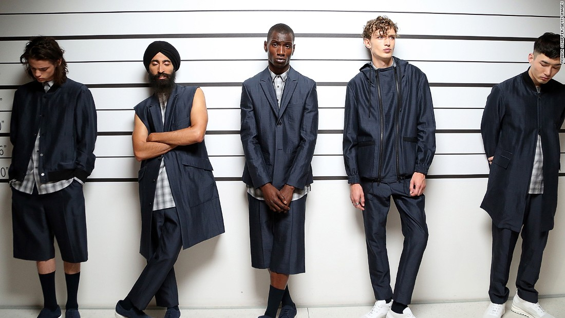 This week marked the first New York Fashion Week: Men's, <br /><br />Cult brand Public School's presentation lineup included jewelery designer Waris Ahluwalia (second from left) and Twin Shadow.