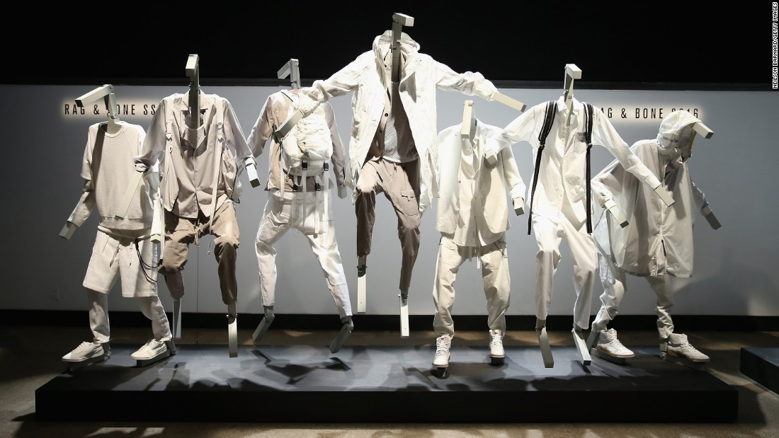 Rag & Bone's parkour-themed collection was shown on mannequins, as well as in a video of actual parkourists wearing the clothes.
