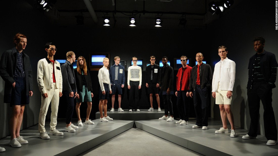 Models were posed in front of static TVs at Timo Weiland. That same TV static was translated into sweater prints.