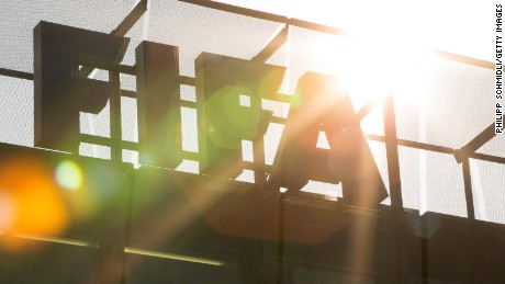 Caption:ZURICH, SWITZERLAND - JUNE 03: A FIFA logo sits on the rooftop at the FIFA headquarters on June 3, 2015 in Zurich, Switzerland. Joseph S. Blatter resigned as president of FIFA. The 79-year-old Swiss official, FIFA president for 17 years said a special congress would be called to elect a successor. (Photo by Philipp Schmidli/Getty Images)