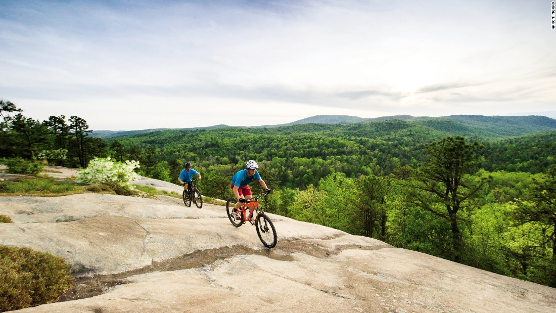 North Carolina's DuPont State Forest provides twisting and turning trails for some of the nation's best mountain biking. Its famous waterfalls have also been featured in movies.
