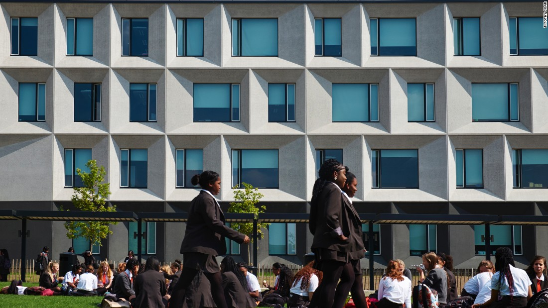 "At Burntwood Academy, a large girls high school in south London, judges praised the bold form and vast, light-filled spaces creating a ""the collegiate air of an Ivy League campus."""