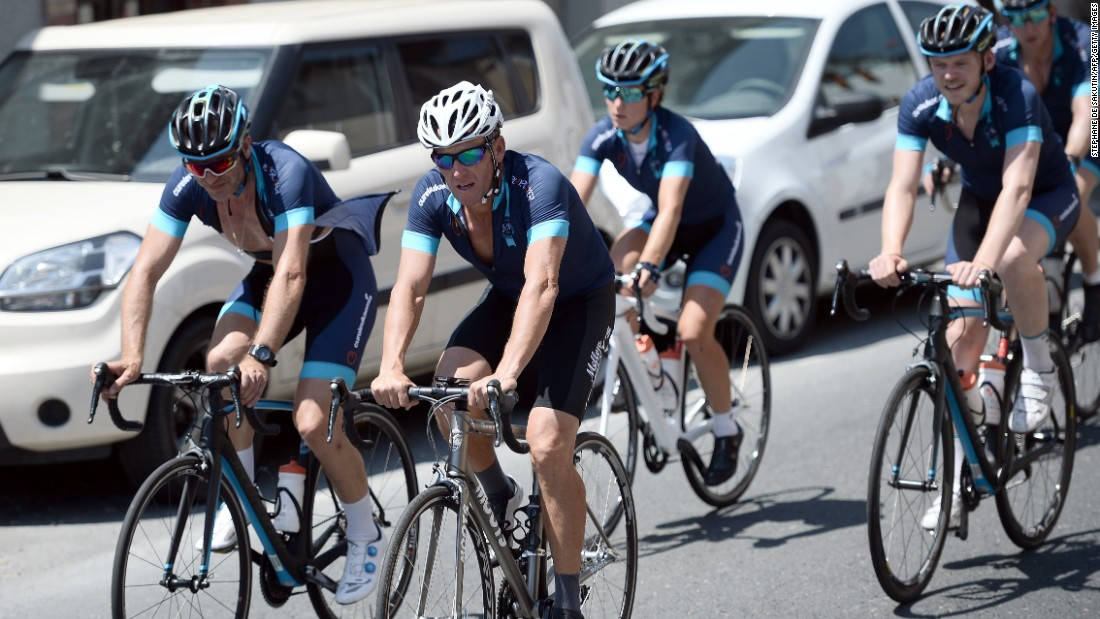 Lance Armstrong cycled a stage of the Tour de France for a leukemia charity, a day ahead of the competing riders.