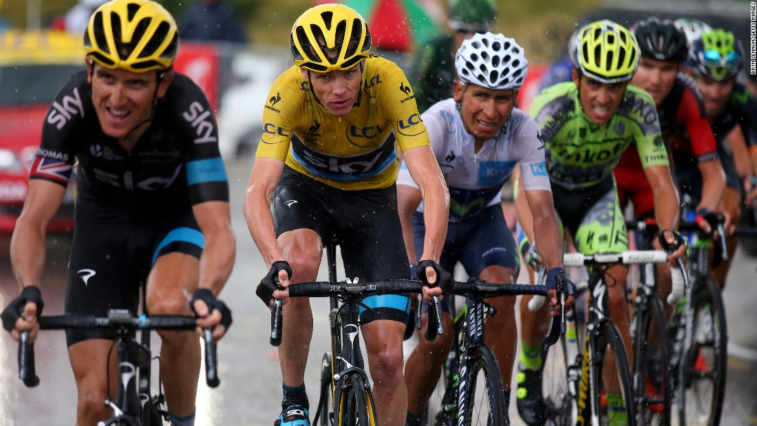 Froome in yellow has his closest rival Quintana of Colombia to his immediate left. Alberto Contador (fourth from left) was unable to back up his Giro d'Italia victory and finished fifth overall.