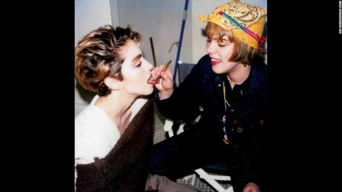 "Singer Madonna, left, and actress Debi Mazar get ready for a photo shoot in Bertoglio's studio in 1983. The Polaroid camera was the iPhone camera of the 1980s, Bertoglio said. ""I wasn't the person who started with the Polaroid,"" he said. ""A lot of people were doing it."""