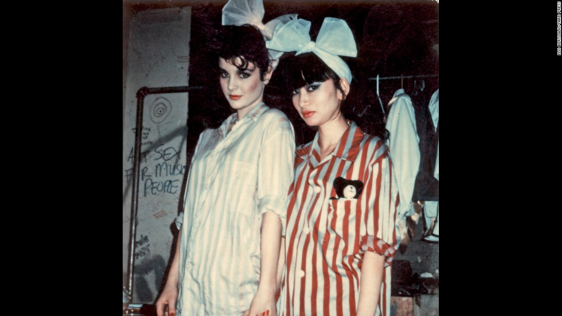 "This picture was taken backstage before a Plastics show at New York's Rock Lounge club. ""Especially from '77 to '83, there was a strong downtown scene in New York ... because the rents were so cheap that all the artists converged there,"" Bertoglio said. ""We would see each other every night in clubs."""