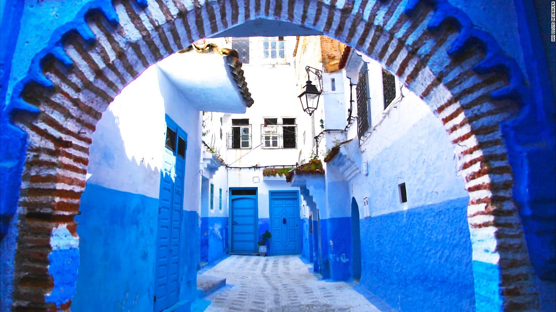 "The city of ​Chefchaouen, or Chaouen for short, is seen as a new ""it"" place on​ Morocco's tourist trail. Yet​ it's not the mountains or the ""Game of Thrones"" architecture that travelers come in their thousands to see. It's the color -- a gorgeous blue rinse that covers not only Chaouen's houses but its mosques, government buildings, public squares and even its lampposts and bins. The custom dates back to the 15th century, when Jewish refugees fleeing the Spanish Inquisition settled in large numbers in Chaouen. They brought with them their tradition of painting things blue to mirror the sky and remind them of God."