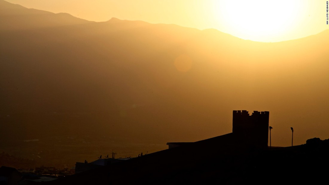 ... and even more so at dusk or dawn. This photo shows a magnification of the Kasbah's outer rampart wall moments before the sun sets behind the Rif mountain range. The Rif mountains are 2,455 meters at their highest point.