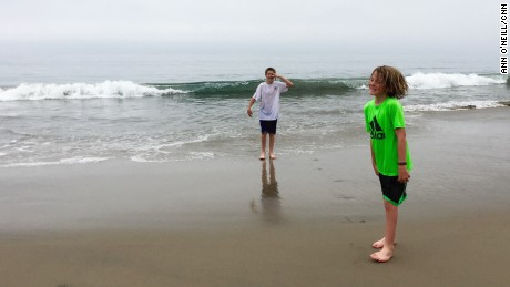 Brothers Gavin and Garrett Anderson were among the first to enjoy the new beach access.