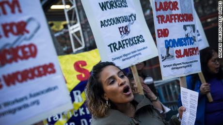 Protests against labor trafficking and modern day slavery outside the United Nations on September 23, 2013, New York.