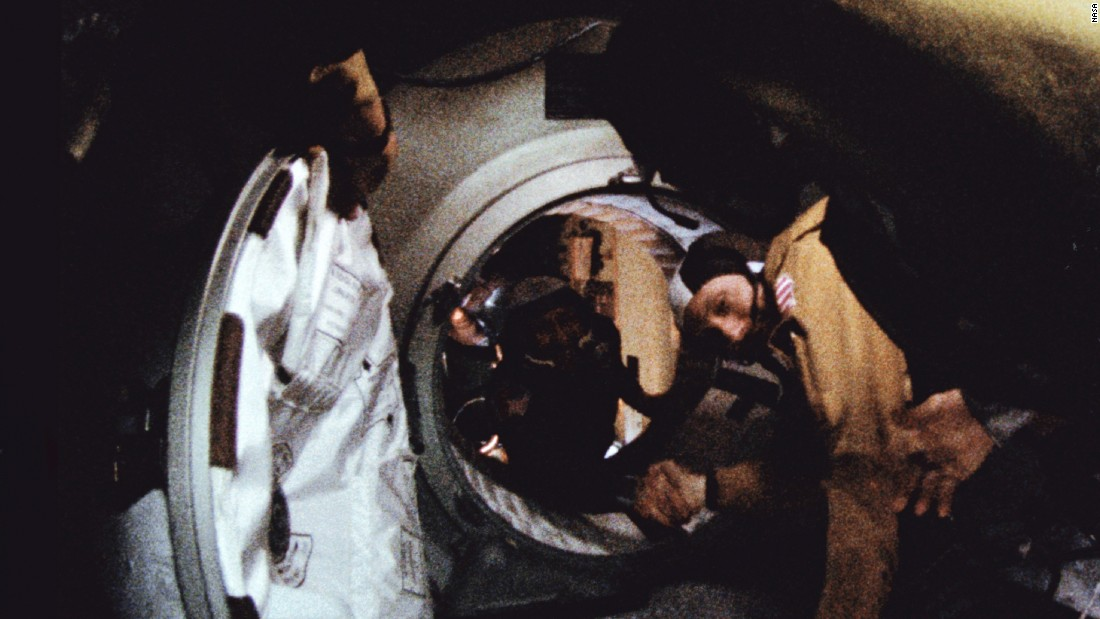 Commander of the Soviet crew of Soyuz, Alexei Leonov, left, and commander of the American crew of Apollo, Thomas Stafford shake hands July 17, 1975 in space, somewhere over Western Germany, after the Apollo-Soyuz docking maneuvers.