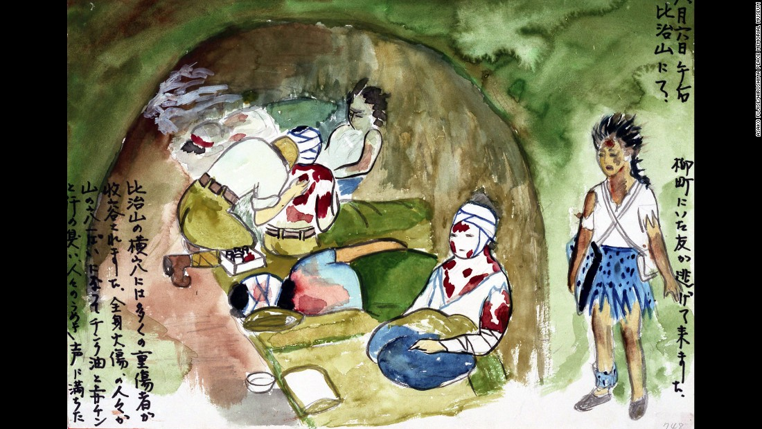 "Survivor Asako Fujise drew this image of a bomb shelter that was being used as a makeshift hospital. It was ""filled with moans and the smell of zinc oxide and Mercurochome mixed with sweat."""