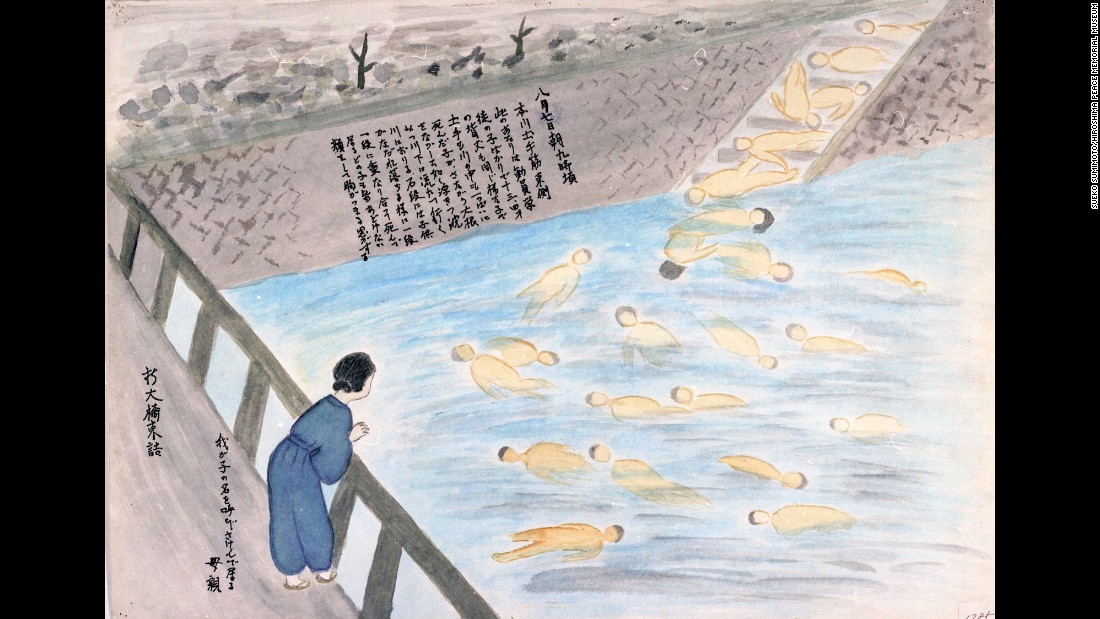 Sueko Sumimoto remembered a mother standing on a bridge. She was screaming her child's name while the bodies of dead students floated on the river below.