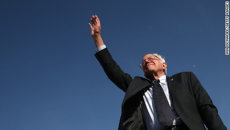 U.S. Sen. Bernie Sanders (I-VT) waves to supporters after officially announcing his candidacy for the U.S. presidency during an event at Waterfront Park May 26, 2015 in Burlington, Vermont.