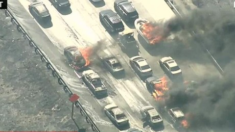 california wildfire cars burning freeway elam live erin_00001427.jpg