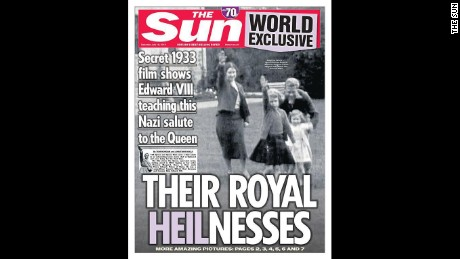 The Sun newspaper published decades-old footage of Britain's Queen Elizabeth II giving a Nazi salute as a young girl.