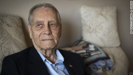 James Murphy, a World War II veteran and prisoner of war, is photographed at his home in Santa Maria, California, on July 16, 2015.