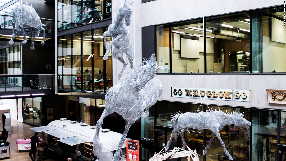 "The French postgraduate art student's sculpture is titled ""Stabat Mater (Lorasifar, Depakin, Tegretol & Circadin)."" It was inspired by her older brother's life-long struggle with epilepsy and autism. Each horse is named after the four medicines (listed in brackets in the title) prescribed to control his epilepsy."