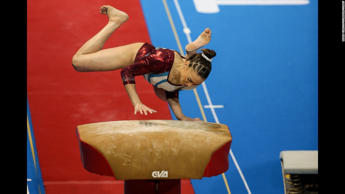 Puerto Rican gymnast Paula Mejias bails out of a vault attempt during the Pan American Games on Tuesday, July 14.